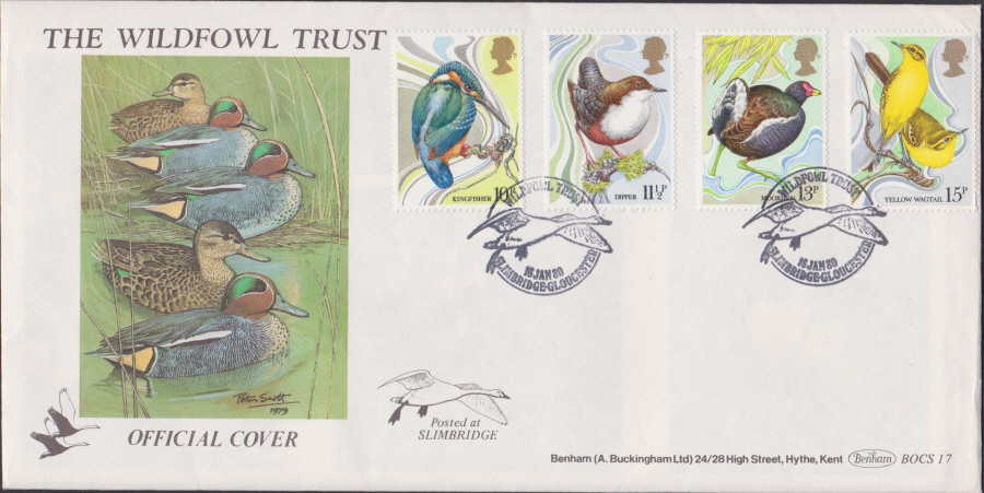 1980 Benham FDC British Birds Slimbridge Gloucester Postmark
